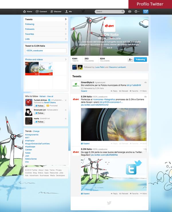 Profilo Twitter di E.ON Italia