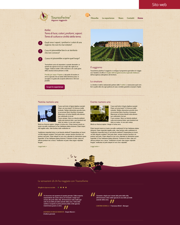 Tours of wine - Sito web